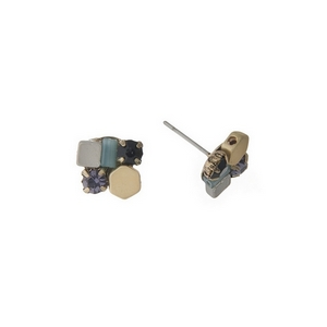 "Dainty gold tone stud earrings with a cluster of black, blue and silver stones. Approximately 1/3"" in length."