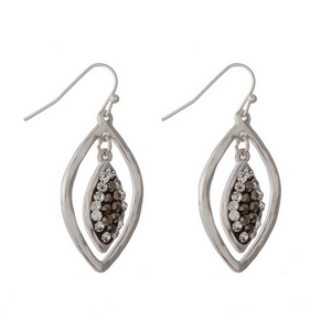 "Hammered silver tone fishhook earrings with clear and bronze rhinestones. Approximately 1"" in length."