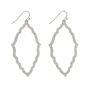 "Silver tone fishhook earrings with an open, hammered geometric shape. Approximately 2"" in length."