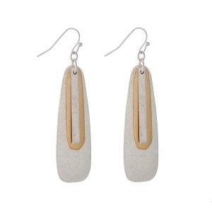 """Silver tone fishhook earrings with gold tone layers. Approximately 2"""" in length."""