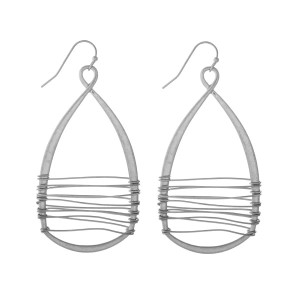 "Silver tone fishhook earrings with a wire wrapped teardrop. Approximately 2.5"" in length."