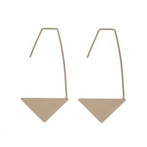 "Gold tone long hook earrings with a triangle bottom. Approximately 2"" in length."