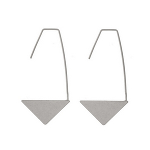 "Silver tone long hook earrings with a brushed arrow. Approximately 2"" in length."
