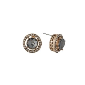 """Gold tone stud earrings with clear rhinestones and a gray center rhinestone. Approximately 1/2"""" in length."""