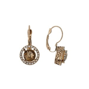 "Gold tone lever back earrings with clear rhinestones and a topaz center rhinestone. Approximately 1/2"" in length."