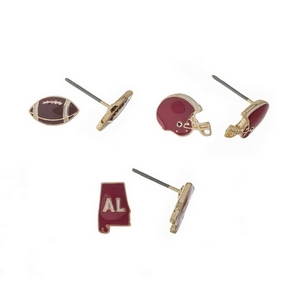 Gold tone three pair earring set with crimson helmet, football, and the state of Alabama studs.