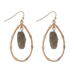 "Gold tone teardrop shaped earrings with a faceted gray stone. Approximately 2"" in length."