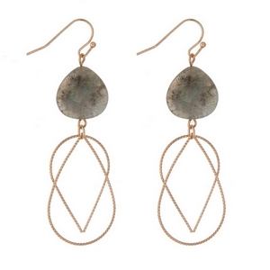 """Gold tone fishhook earrings with faceted labradorite beads and a double teardrop charm. Approximately 3"""" in length."""