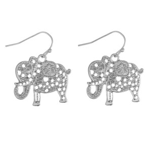 "Silver tone fishhook earrings with a filigree elephant. Approximately 1"" in length."