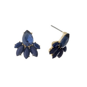 "Gold tone cluster earrings with navy blue rhinestones. Approximately 2/3"" in length."