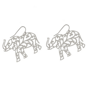 "Silver tone fishhook earrings with a filigree elephant. Approximately 1.5"" in width."