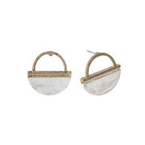 "Dainty gold tone stud earrings with a hammered half circle and clear natural stone. Approximately 3/4"" in length."