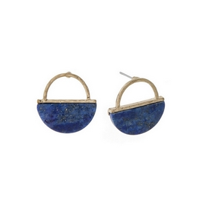 "Dainty gold tone stud earrings with a hammered half circle and lapis natural stone. Approximately 3/4"" in length."