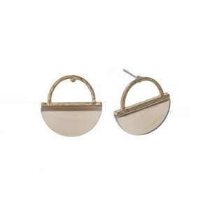 "Dainty gold tone stud earrings with a hammered half circle and gray natural stone. Approximately 3/4"" in length."