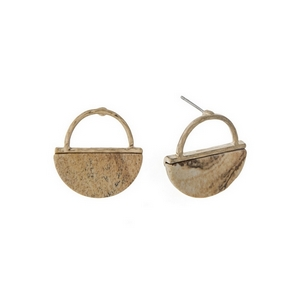 """Dainty gold tone stud earrings with a hammered half circle and picture jasper natural stone. Approximately 3/4"""" in length."""