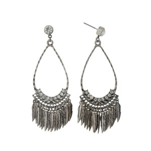 "Silver tone post style earrings with an open teardrop, metal feather fringe, and clear rhinestones. Approximately 3"" in length."