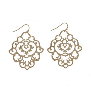 "Gold tone fishhook earrings with a filigree shape. Approximately 2"" in length."
