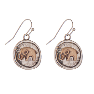 "Burnished silver tone fishhook earrings with a two tone elephant. Approximately 1"" in length."