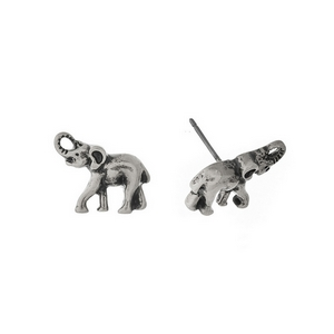 "Burnished silver tone elephant studs. Approximately 1/3"" in length."