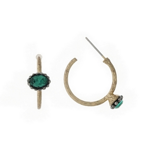 "Hammered gold tone hoop earrings with a green stone accent. Approximately 1"" in length."
