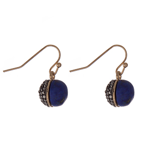"Dainty gold tone fishhook earrings with a natural blue stone half and a hematite pave rhinestone half. Approximately 1/4"" in length."