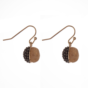 """Dainty gold tone fishhook earrings with a natural beige stone half and a hematite pave rhinestone half. Approximately 1/4"""" in length."""