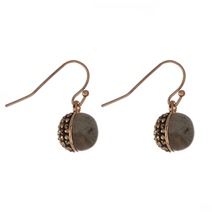 "Dainty gold tone fishhook earrings with a natural labradorite stone half and a hematite pave rhinestone half. Approximately 1/4"" in length."