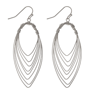 "Silver tone fishhook earrings with wire wrapped teardrop shapes. Approximately 2"" in length."