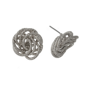 """Silver tone knot, stud earrings. Approximately 1"""" in length."""