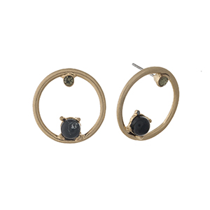 "Gold tone circle stud earrings with black stone and rhinestone accents. Approximately 1"" in length."