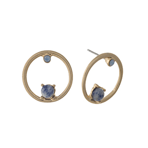 "Gold tone circle stud earrings with blue stone and rhinestone accents. Approximately 1"" in length."
