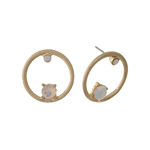 "Gold tone circle stud earrings with opal stone and rhinestone accents. Approximately 1"" in length."