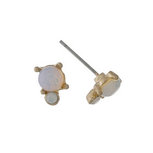 """Dainty gold tone stud earrings with an opal stone accented by an opal rhinestone. Approximately 1/4"""" in length."""