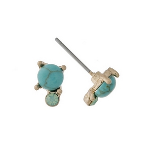 """Dainty gold tone stud earrings with a turquoise stone accented by an opal rhinestone. Approximately 1/4"""" in length."""