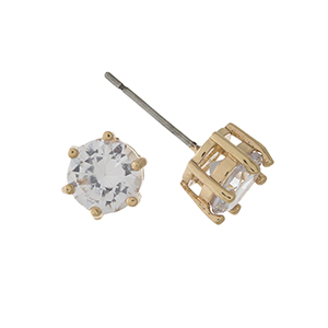 Gold tone CZ stud earrings. Approximately 8mm in size.