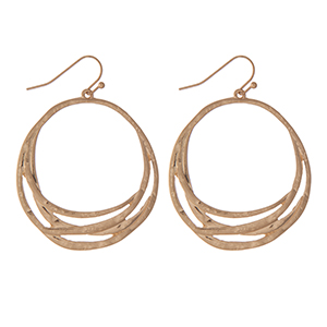 "Hammered gold tone circle earrings. Approximately 1.5"" in length."