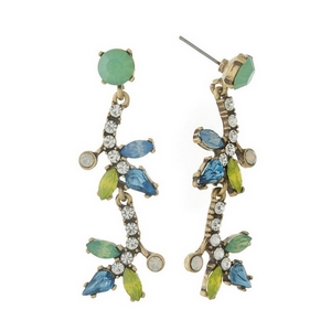"Burnished gold tone, post style earrings with mint green, blue, and yellow rhinestones. Approximately 2"" in length."