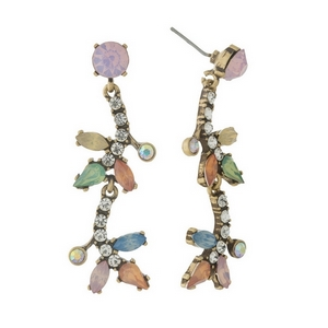 "Burnished gold tone, post style earrings with pink, peach, and blue rhinestones. Approximately 2"" in length."