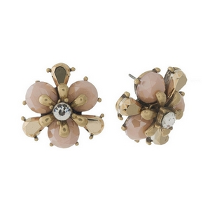 Burnished gold tone, pink flower shaped, stud earrings with a clear rhinestone. Approximately 20mm in diameter.