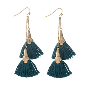 "Gold tone fishhook earrings with two teal tassels. Approximately 3"" in length."