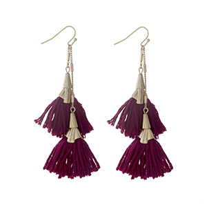 "Gold tone fishhook earrings with two wine tassels. Approximately 3"" in length."