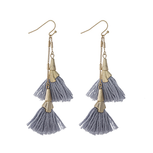 "Gold tone fishhook earrings with two gray tassels. Approximately 3"" in length."