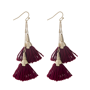 "Gold tone fishhook earrings with two burgundy tassels. Approximately 3"" in length."