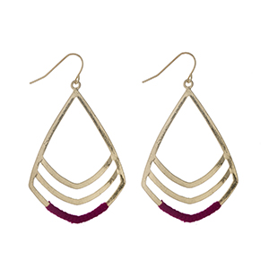 """Gold tone fishhook earrings with fuchsia threaded accents. Approximately 2"""" in length."""