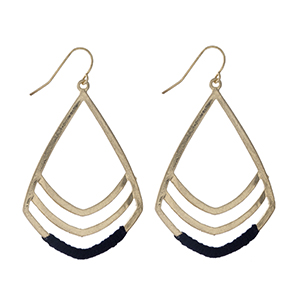 """Gold tone fishhook earrings with black threaded accents. Approximately 2"""" in length."""