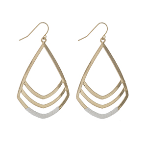 """Gold tone fishhook earrings with white threaded accents. Approximately 2"""" in length."""