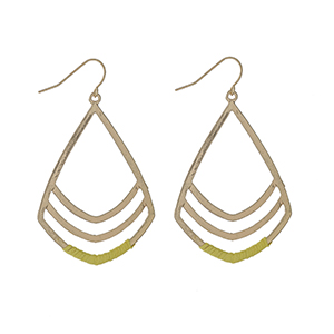 """Gold tone fishhook earrings with yellow threaded accents. Approximately 2"""" in length."""