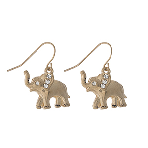 "Dainty gold tone elephant fishhook earrings. Approximately 1"" in length."