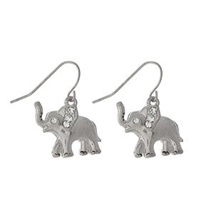 """Dainty silver tone elephant fishhook earrings. Approximately 1"""" in length."""