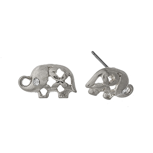 "Dainty silver tone elephant studs. Approximately 1/2"" in length."